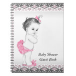Pink and Black Baby Shower Guest Book Notebooks