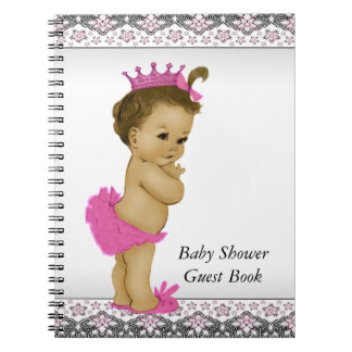 Pink and Black Baby Shower Guest Book Spiral Notebook