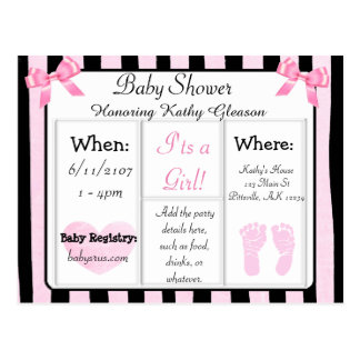 Pink and Black Baby Shower Invitation Postcard