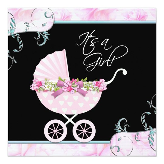Pink And Black Baby Shower Invitations