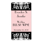 Pink and Black Baroque Wedding Mini Wine Labels