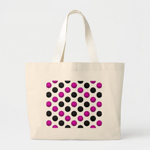 Pink and Black Basketball Pattern Canvas Bag