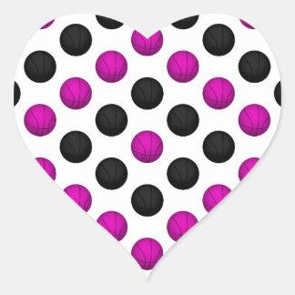 Pink and Black Basketball Pattern Heart Sticker