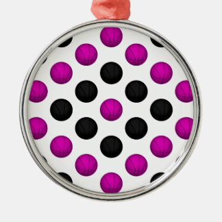 Pink and Black Basketball Pattern Metal Ornament