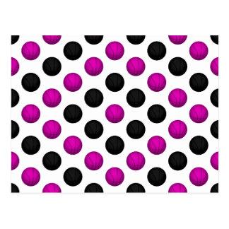 Pink and Black Basketball Pattern Postcard