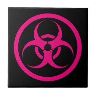 Pink and Black Bio Hazard Circle Tile