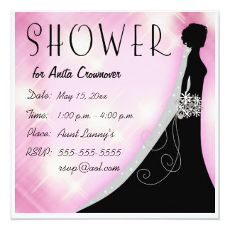 Pink and Black Bling Bridal Shower Card
