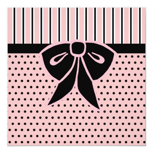 Pink and Black Bow Invitations