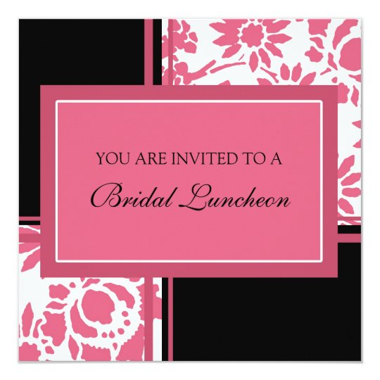 pink and black bridal luncheon invitation cards  zazzle
