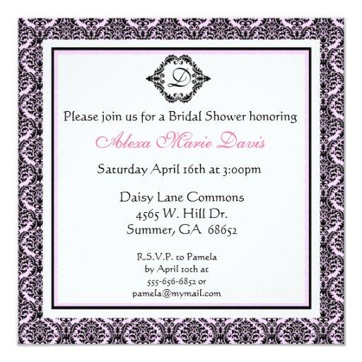Pink and Black Bridal Shower Damask Invitation