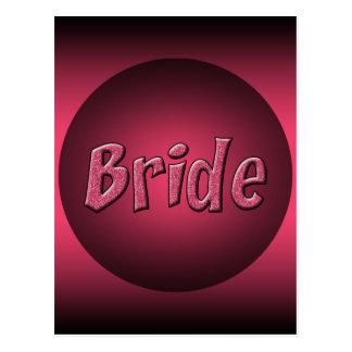 Pink and Black Bride Design Postcard