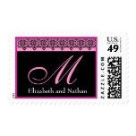 PINK and BLACK Bride Groom Monogram Postage Stamp