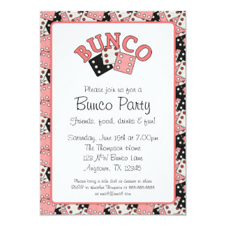 Pink and Black Bunco Party 5x7 Paper Invitation Card