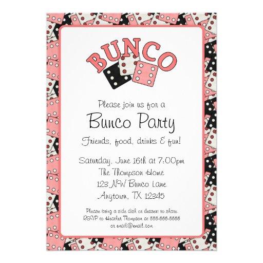 Pink And Black Bunco Party 5x7 Paper Invitation Card Zazzle