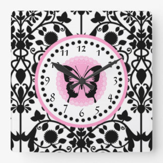 Pink and Black Butterfly clock