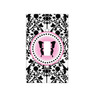 Pink and Black Butterfly light switch cover