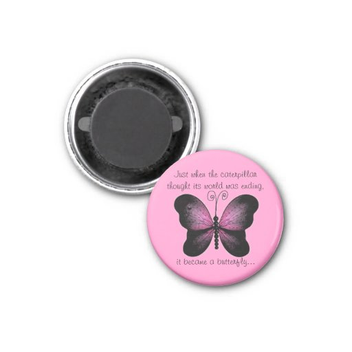 Pink and Black Butterfly Magnet