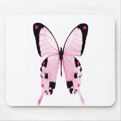 pink and black butterfly mousepad
