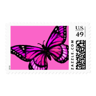 Pink and Black Butterfly on Any Color Postage Stamp