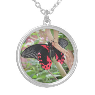 Pink and Black Butterfly on Branch Necklace