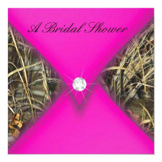 Pink and Black Camo Bridal Shower 5.25x5.25 Square Paper Invitation Card