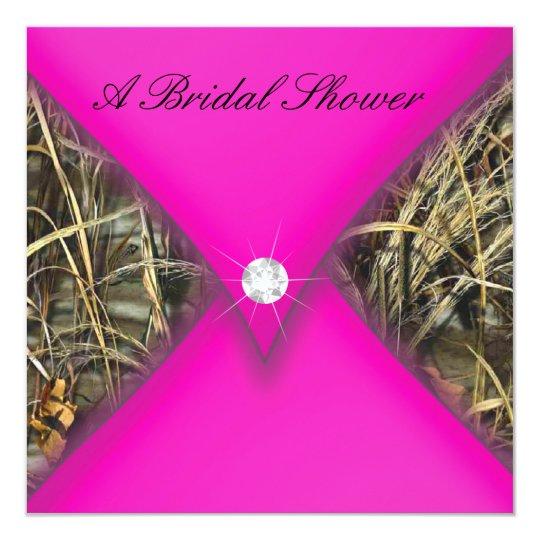 pink and black camo bridal shower invitation