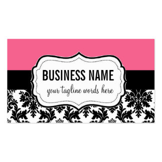 Pink and Black Card with Damask Double-Sided Standard Business Cards (Pack Of 100)