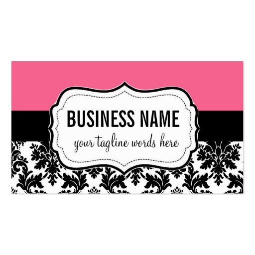 Pink and Black Card with Damask Business Cards
