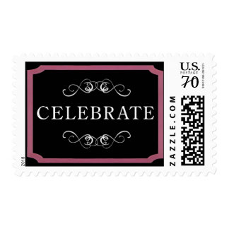 """Pink and Black """"Celebrate"""" Postage"""