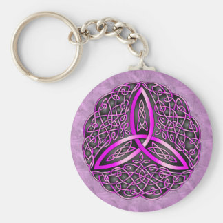 Pink and Black Celtic Art Trinity Knot Keychain