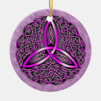 Pink and Black Celtic Art Trinity Knot Double-Sided Ceramic Round Christmas Ornament