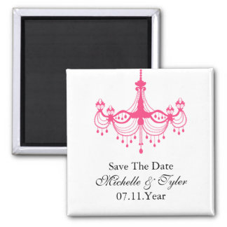 Pink and Black Chandelier Save The Date Magnet