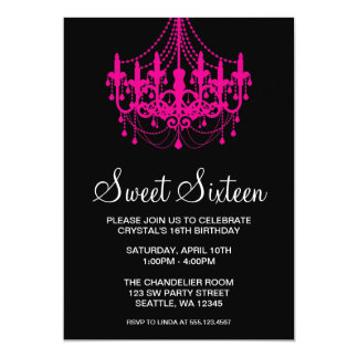 Pink and Black Chandelier Sweet Sixteen Birthday Invites