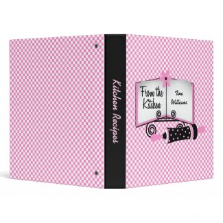 Pink and Black Checked Recipe Binder