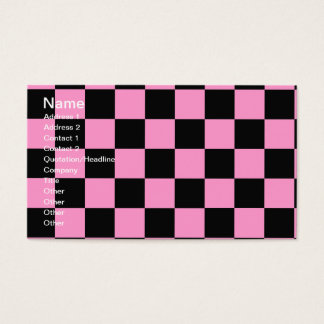 Pink and Black Checker Board Retro 50's Business C Business Card