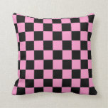 Pink and Black Checker Pillow