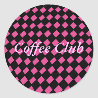 Pink and Black Checker Sticker