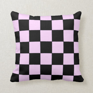 Pink and Black Checkered Flag Pillow by RT Stone