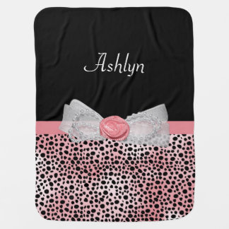 Pink and Black Cheetah Print Cute Bow and Name Swaddle Blanket