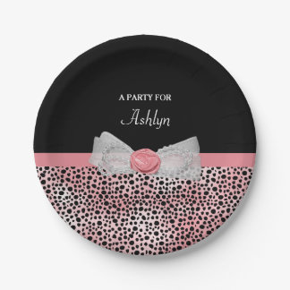 Pink and Black Cheetah Print Cute Bow Party Name Paper Plate