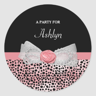 Pink and Black Cheetah Print Cute Bow Party Name Classic Round Sticker
