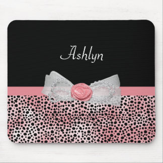 Pink and Black Cheetah Print Cute Bow With Name Mouse Pad
