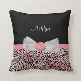 Pink and Black Cheetah Print Cute Bow With Name Throw Pillow