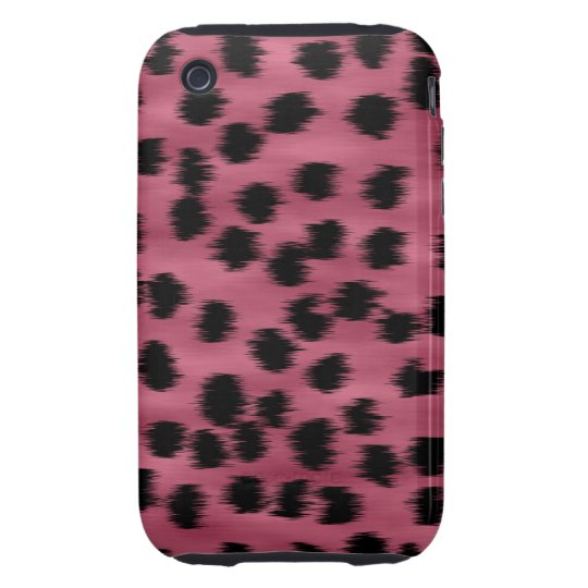 Pink and Black Cheetah Print Pattern. Tough iPhone 3 Cover