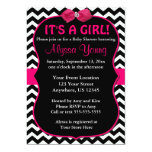 Pink and Black Chevron Baby Shower Invite