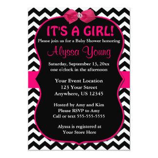 Pink and Black Chevron Baby Shower Invite