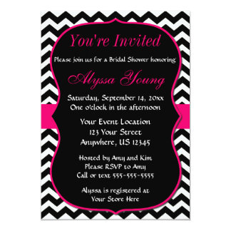Pink and Black Chevron Bridal Shower Invitation