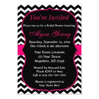 Pink and Black Chevron Bridal Shower Invitation