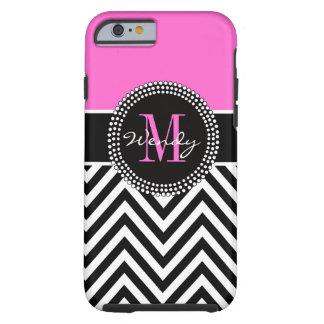 Pink and Black Chevron Monogram Elegant Tough iPhone 6 Case