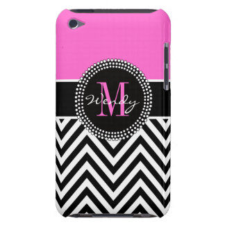 Pink and Black Chevron Monogram Elegant iPod Touch Case